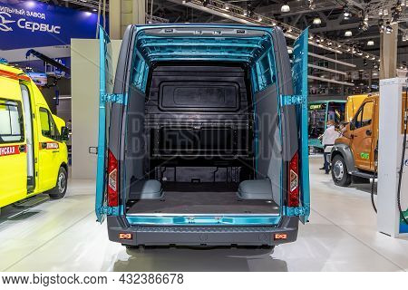 Lcv Gaz Sobol Nn. Open Rear Doors Of A Light Commercial Van. Gaz Company Exhibition Booth At The Int