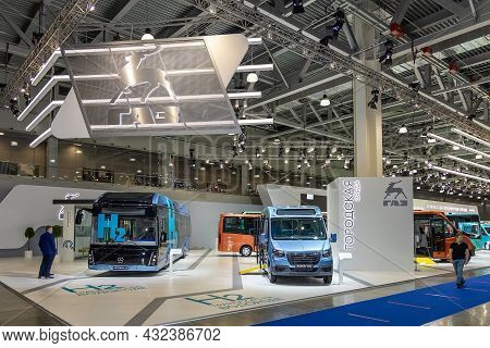 Diesel, electric and hydrogen buses of the GAZ company at the international show of commercial vehicles Comtrans 2021. Moscow, Russia - September 7-11, 2021