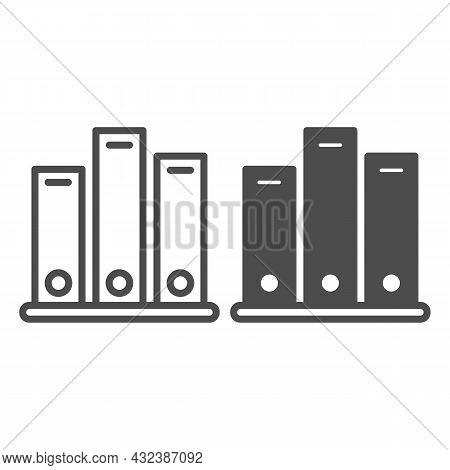 Shelf With Folders, Archival Documents Line And Solid Icon, Documents Concept, Office Binders Vector