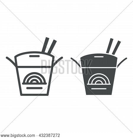 Noodles In A Box Line And Solid Icon, Asian Food Concept, Japanese Take Out Box Vector Sign On White