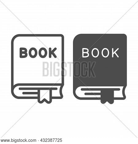 Closed Thick Book With A Ribbon Bookmark Line And Solid Icon, Education Concept, Textbook Vector Sig