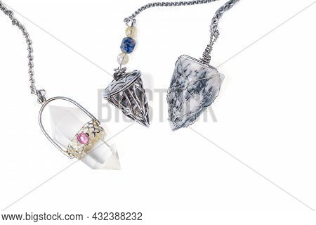 Top View Foretelling The Future With Crystal Pendulum Isolated. Background Cover Page Quartz Crystal