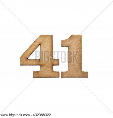 Number Forty-one, 41 - Piece Of Wood Isolated On White Background