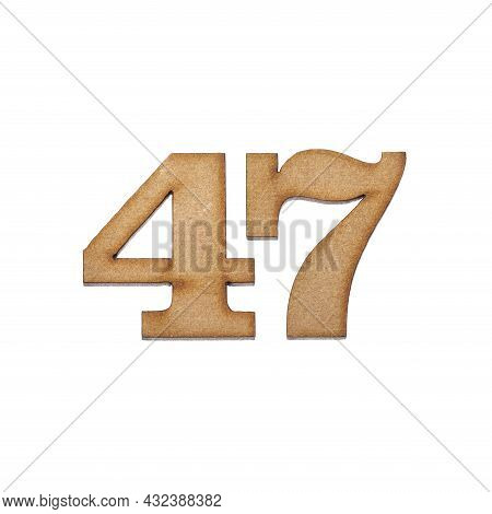 Number Forty-seven, 47 - Piece Of Wood Isolated On White Background