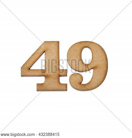Number Forty-eight, 49 - Piece Of Wood Isolated On White Background
