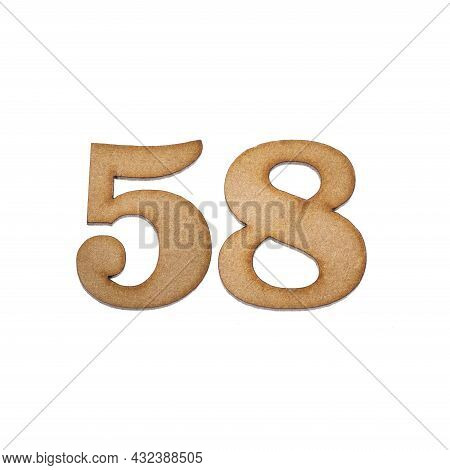 Number Fifty Eight, 58 - Piece Of Wood Isolated On White Background