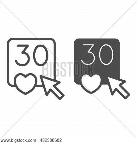 Click On Number 30 And Heart Line And Solid Icon, Dating And Relationship Concept, Love Thirty Vecto