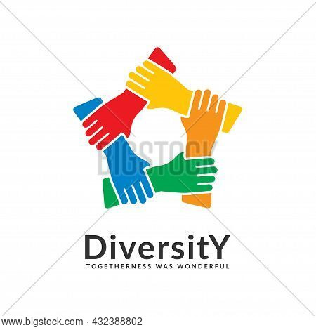 Diversity And Togetherness Logo. People Network Together Pentagon Hands, Social Team Logo Icon. Soci