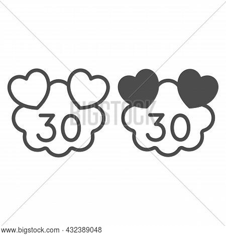 Hearts On Cloud With Number 30 Line And Solid Icon, Love And Relationship Concept, Thirty Years Vect