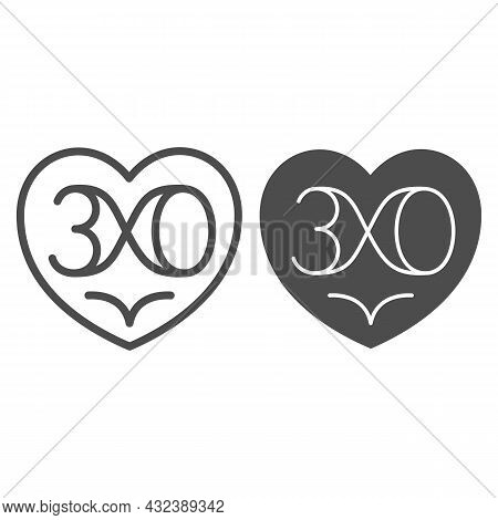 Heart With Nuber 30 As Infinity Line And Solid Icon, Love And Relationship Concept, Thirty Vector Si