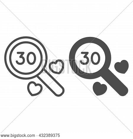 Number 30 Under Magnifying Glass And Two Heart Line And Solid Icon, Anniversary Concept, Thirty Vect