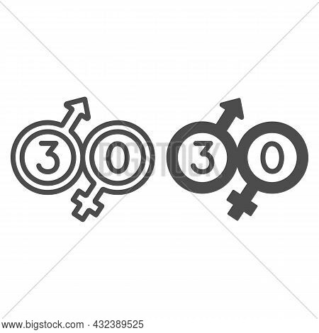 Male And Female Beginning With 30 Line And Solid Icon, Love And Relationship Concept, Thirty Vector