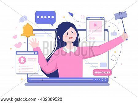 Content Creator Background Vector Illustration Of Freelancer Blogger And Video Vlogger Production Ca