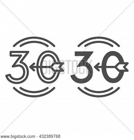 Arrow Number 30 And Circle Line And Solid Icon, Love And Relationship Concept, Emblem Thirty Vector