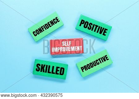 Colored Boards With Words For Self -improvement. Self Improvement Concept