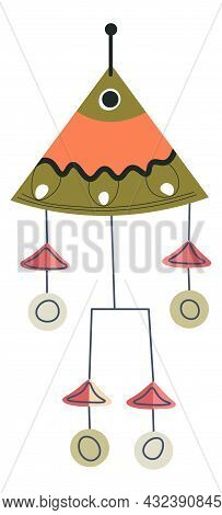Clay Decoration With Bells Sounds And Wires Vector