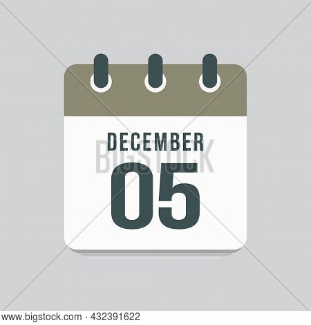 Icon Day Date 5 December, Template Calendar Page