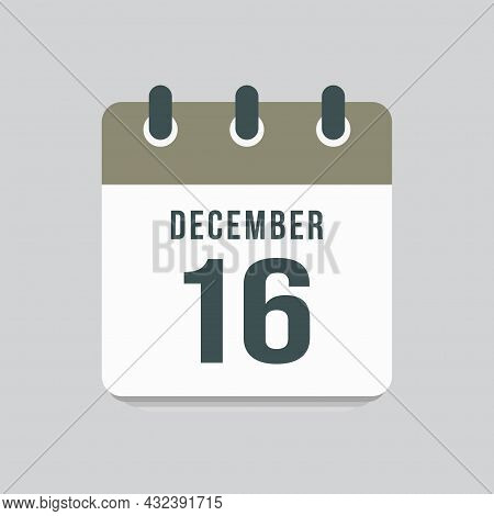 Icon Day Date 16 December, Template Calendar Page