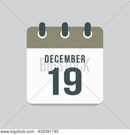 Icon Day Date 19 December, Template Calendar Page