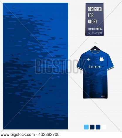 Soccer Jersey Pattern Design. Abstract Pattern On Blue Background For Soccer Kit, Football Kit, Bicy