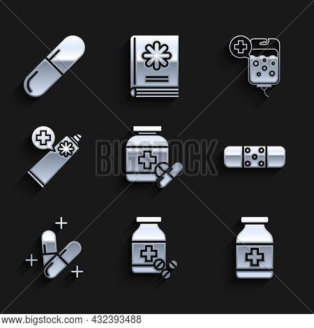 Set Medicine Bottle And Pills, Bandage Plaster, Or Tablet, Ointment Cream Tube Medicine, Iv Bag And