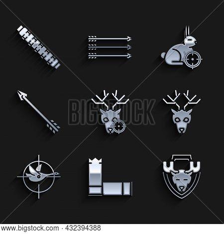 Set Hunt On Deer With Crosshairs, Cartridges, Moose Head Shield, Deer Antlers, Duck, Hipster Arrow,