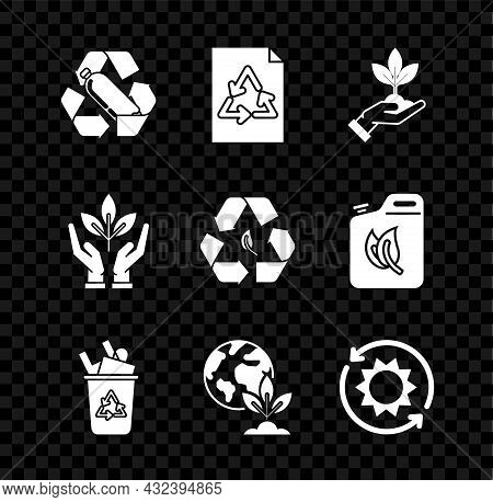 Set Recycling Plastic Bottle, Paper With Recycle, Plant Hand Of Environmental Protection, Recycle Bi