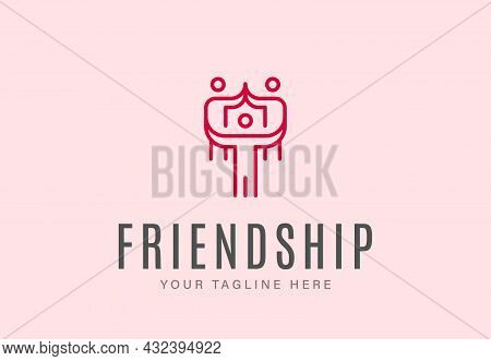 Group Of People Gathered Together With Heart Signs As Symbol Of Friendship With Lettering On White B