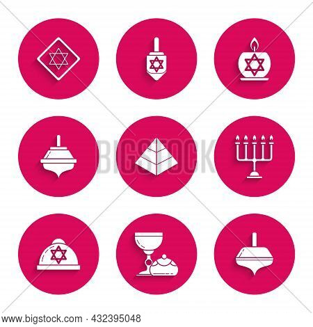 Set Egypt Pyramids, Jewish Goblet And Hanukkah Sufganiyot, Hanukkah Dreidel, Menorah, Kippah With St