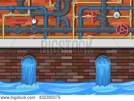 Sewage Discharge. Water Treatment Facilities. Eco-protective Structure. Complex Pipeline. Drainage O