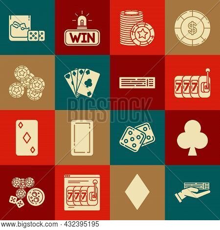 Set Hand Holding Deck Of Playing Cards, Playing With Clubs Symbol, Slot Machine Lucky Sevens Jackpot