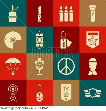 Set Military Reward Medal, Aviation Bomb, Chevron, Bullet, Detonate Dynamite Stick And Timer Clock,