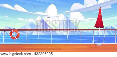 View From Cruise Ship Deck To Sea Landscape With White Mountains On Horizon. Vector Cartoon Illustra