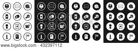 Set Globe With House Symbol, House Building In Speech Bubble, Mobile Phone Smart Home, Monitor Heart