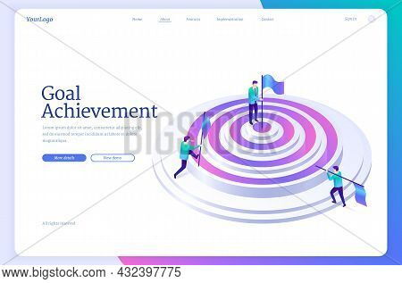 Goal Achievement Banner. Concept Of Work Strategy For Achieve Objectives And Purpose Performance. Ve