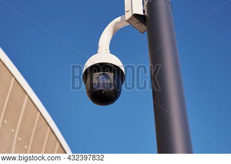 Security And Video Control Cctv Camera, Close Up. Surveillance And Monitoring Concept
