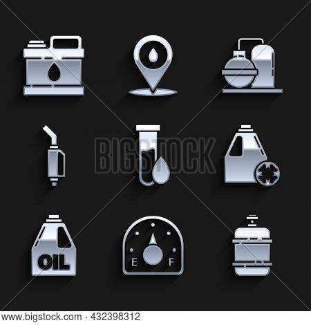 Set Oil Petrol Test Tube, Motor Gas Gauge, Propane Tank, Antifreeze Canister, Canister For Motor Mac