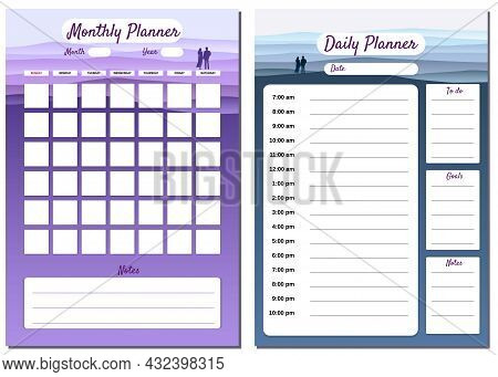 Monthly, Daily Planner Template Vector. Minimal Landscape With Couple Background, To Do List, Goals,