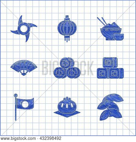Set Sushi, Khinkali On Cutting Board, Chinese Fortune Cookie, National Flag Of Japan Pole, Paper Chi