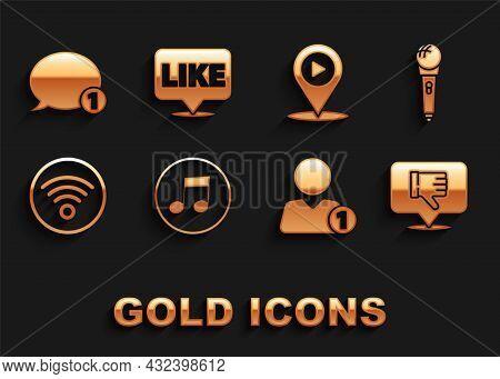 Set Music Note, Tone, Microphone, Dislike In Speech Bubble, Add Friend, Wi-fi Wireless Internet Netw