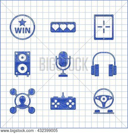 Set Microphone, Gamepad, Racing Simulator Cockpit, Headphones, Share, Stereo Speaker, Tablet And Med