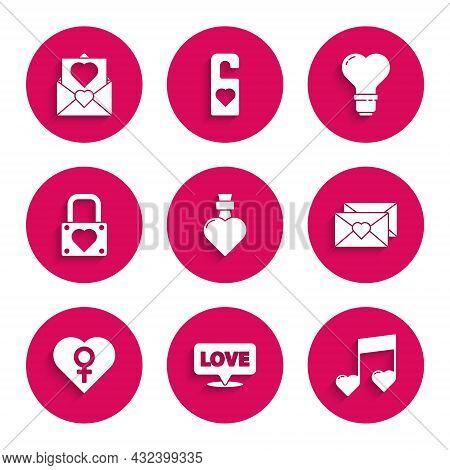 Set Bottle With Love Potion, Speech Bubble Text, Music Note, Tone Hearts, Envelope Valentine, Heart