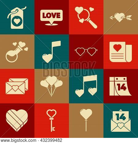 Set Envelope With Valentine Heart, Calendar February 14, Search And Love, Music Note, Tone Hearts, B