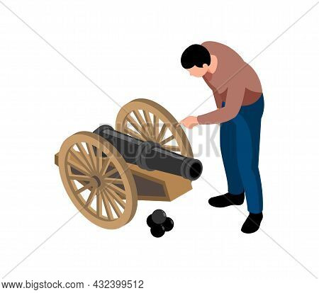 Historical Museum Isometric Icon With Male Visitor Looking At Cannon 3d Vector Illustration