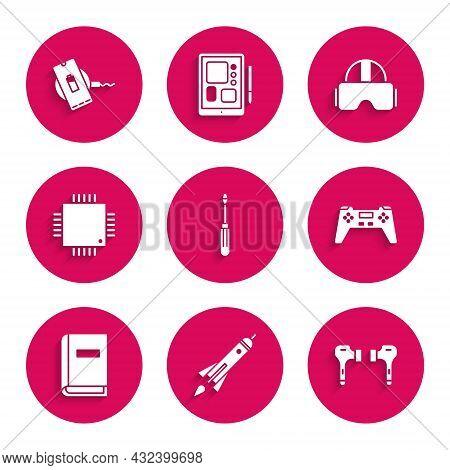 Set Screwdriver, Rocket Ship With Fire, Air Headphones, Gamepad, User Manual, Processor Microcircuit