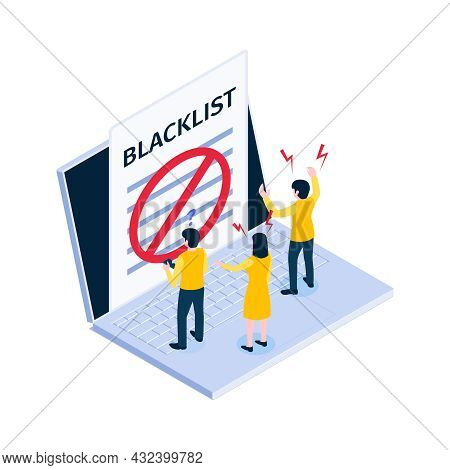 Internet Ban Blacklist Isometric Icon With Denied Access And Users In Panic 3d Vector Illustration