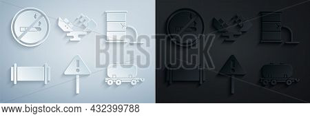 Set Exclamation Mark In Triangle, Barrel Oil Leak, Industry Pipe, Oil Railway Cistern, Wrecked Tanke
