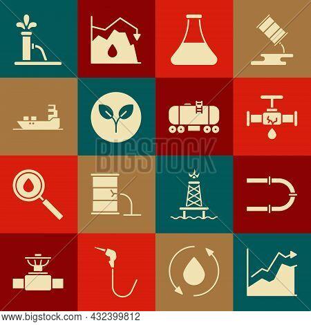 Set Oil Price Increase, Industry Pipe, Broken With Leaking Water, Petrol Test Tube, Bio Fuel, Tanker
