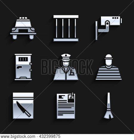 Set Police Officer, Lawsuit Paper, Paint Brush, Prisoner, Evidence Bag And Knife, Cell Door, Securit