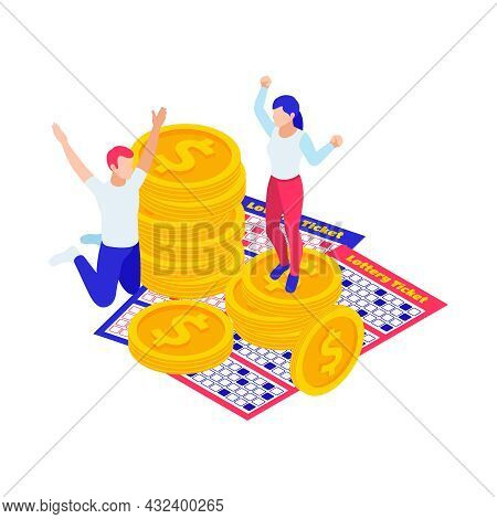Lottery Win Isometric Icon With Tickets Coins And Excited People 3d Vector Illustration